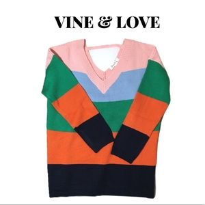 NWOT Vine & Love Colorful Oversize Sweater Size M